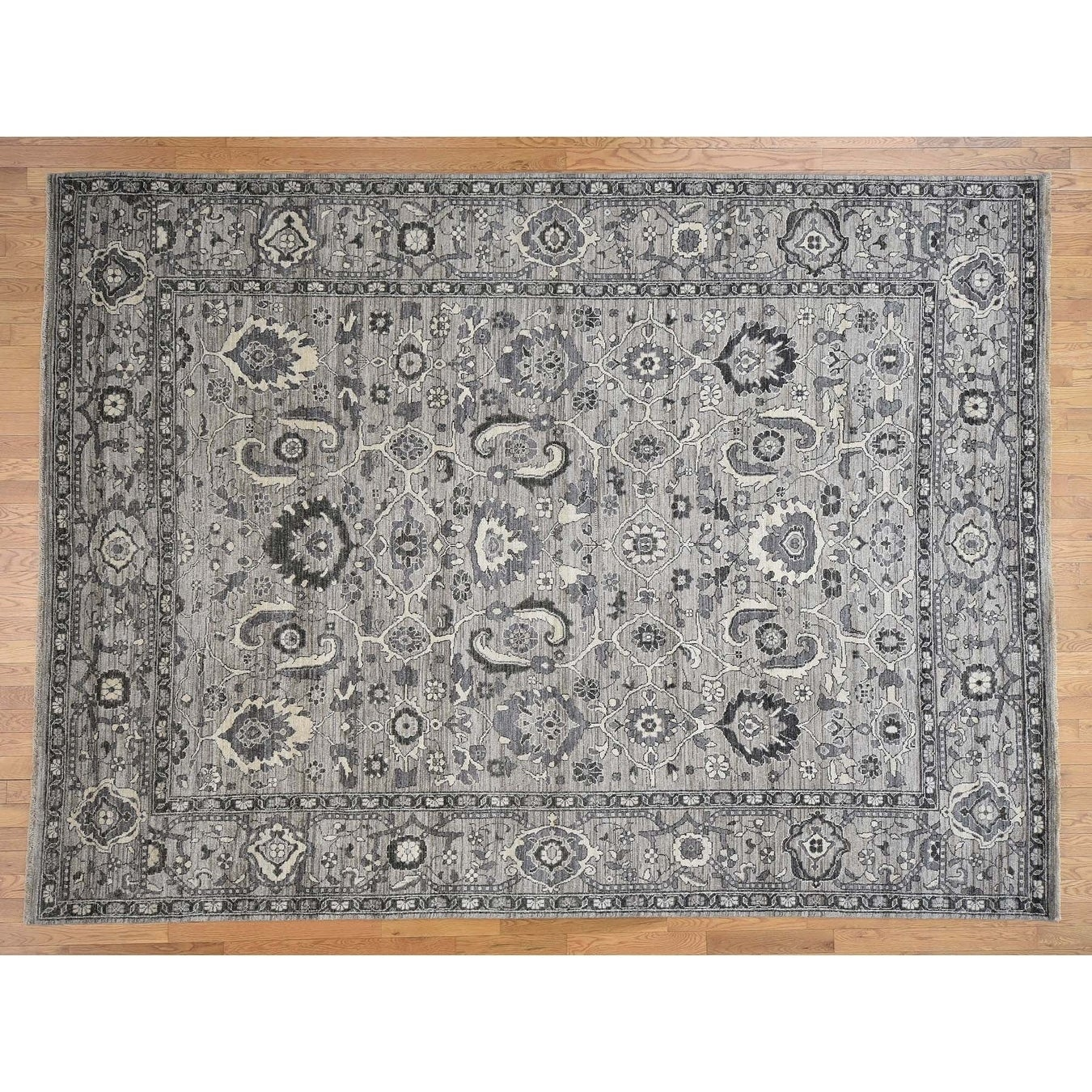 Hand Knotted Grey Oushak And Peshawar with Wool Oriental Rug - 91 x 123