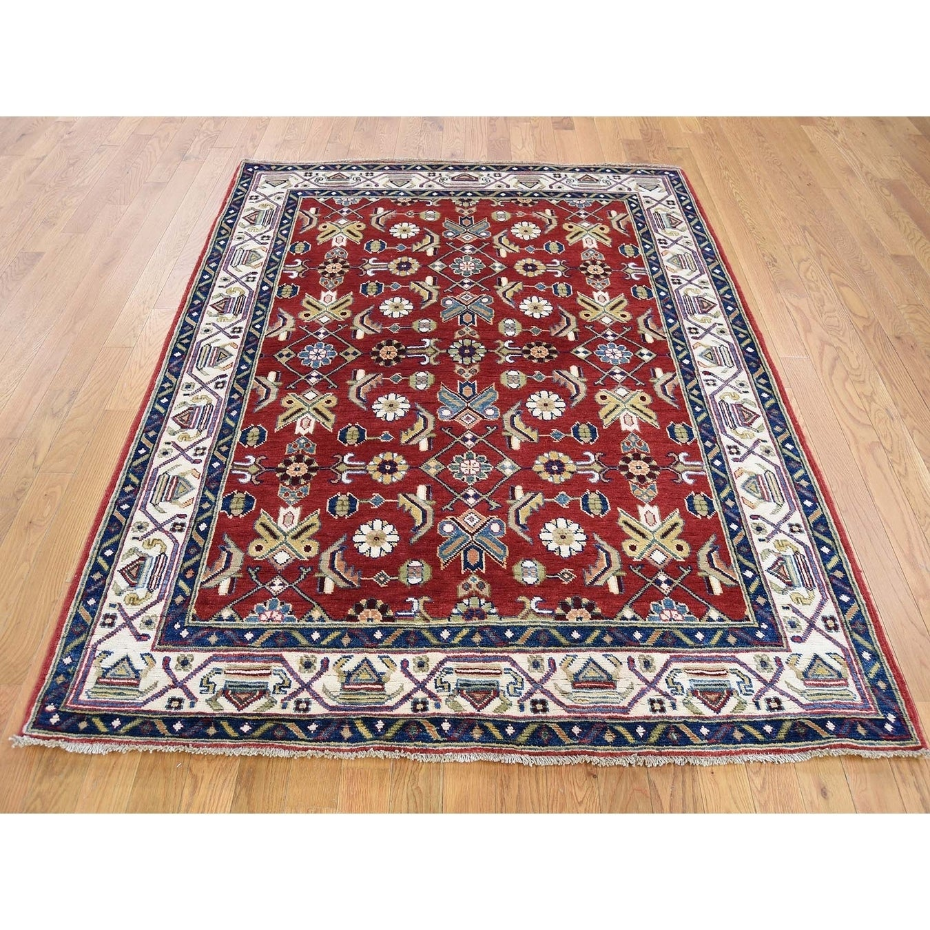 Hand Knotted Red Kazak with Wool Oriental Rug - 5 x 62