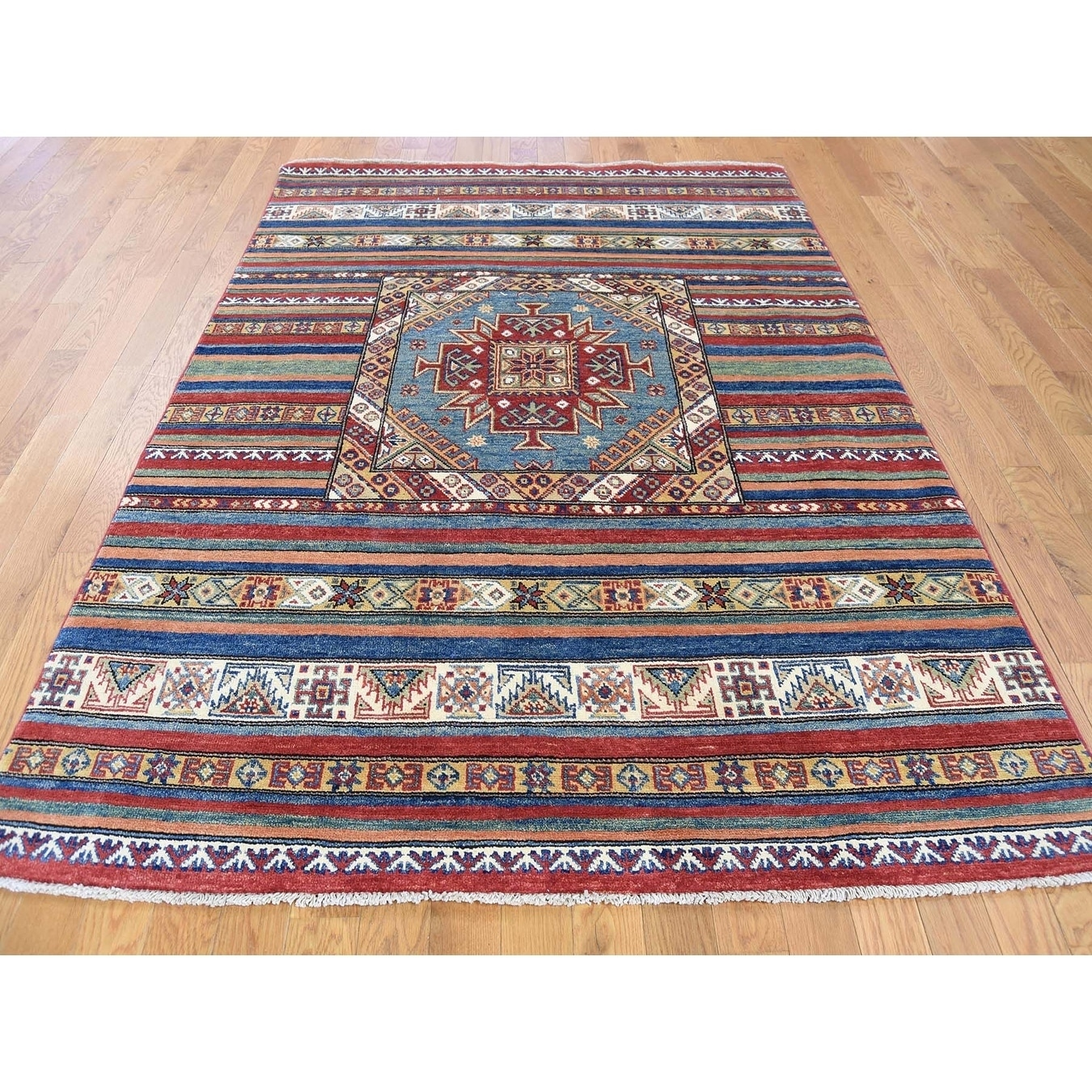 Hand Knotted Multicolored Kazak with Wool Oriental Rug - 410 x 65