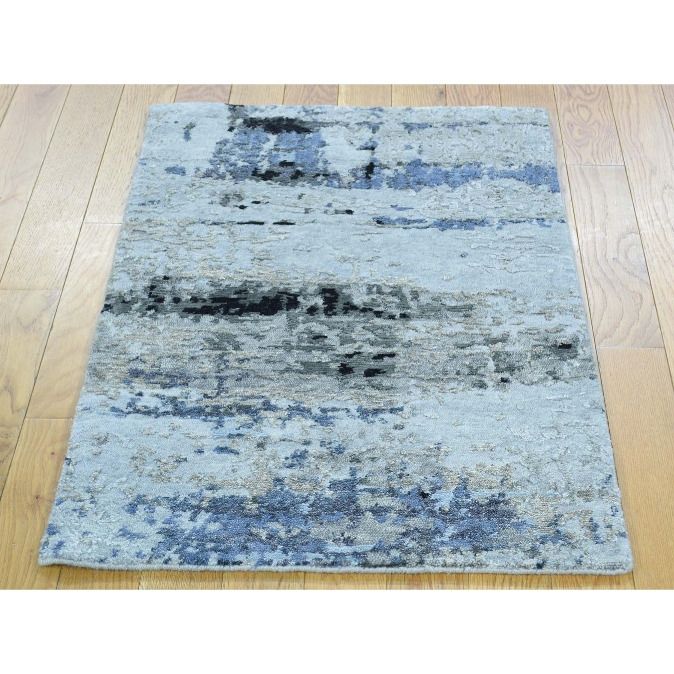 Hand Knotted Multicolored Modern & Contemporary with Wool & Silk Oriental Rug - 2 x 210