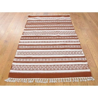 Hand Knotted Multicolored Flat Weave with Wool Oriental Rug - 3' x 5'2