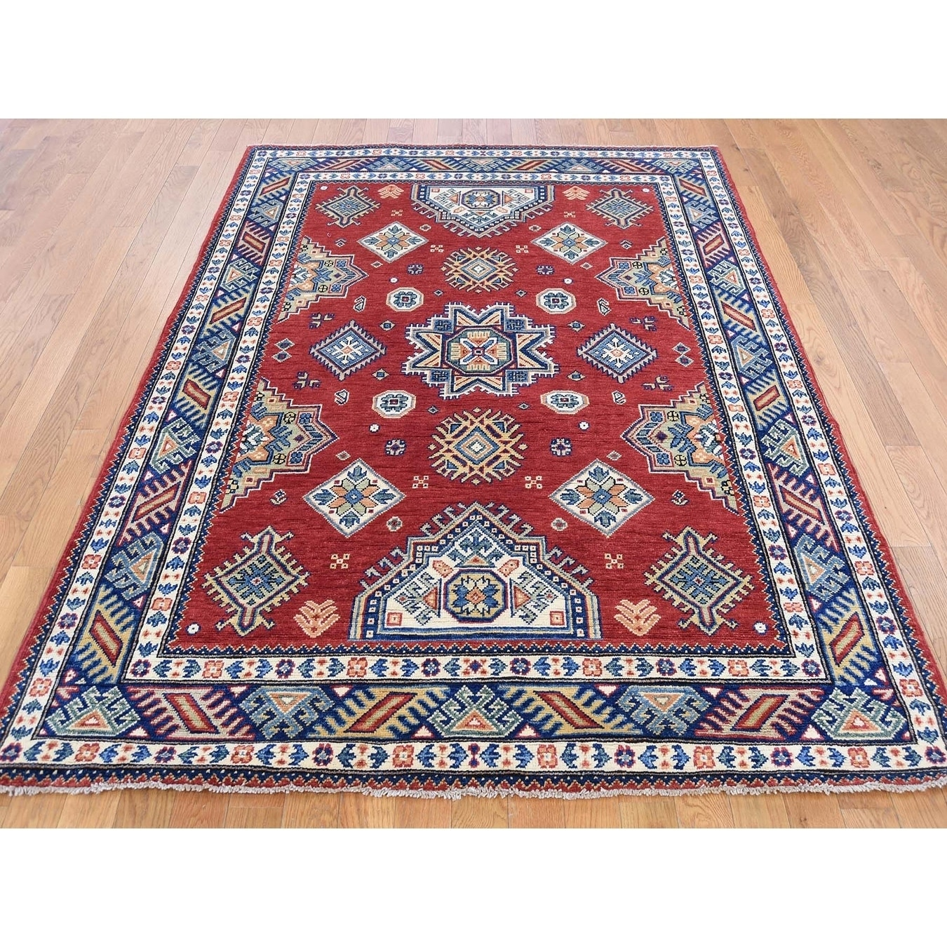 Hand Knotted Red Kazak with Wool Oriental Rug - 5 x 67