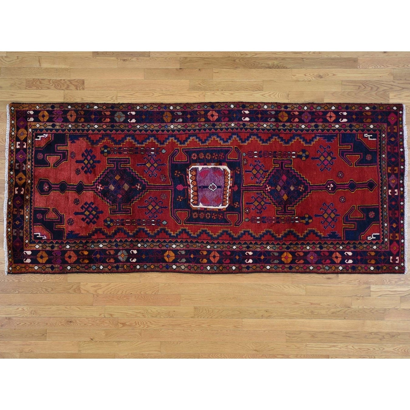 Hand Knotted Red Persian with Wool Oriental Rug - 41 x 96