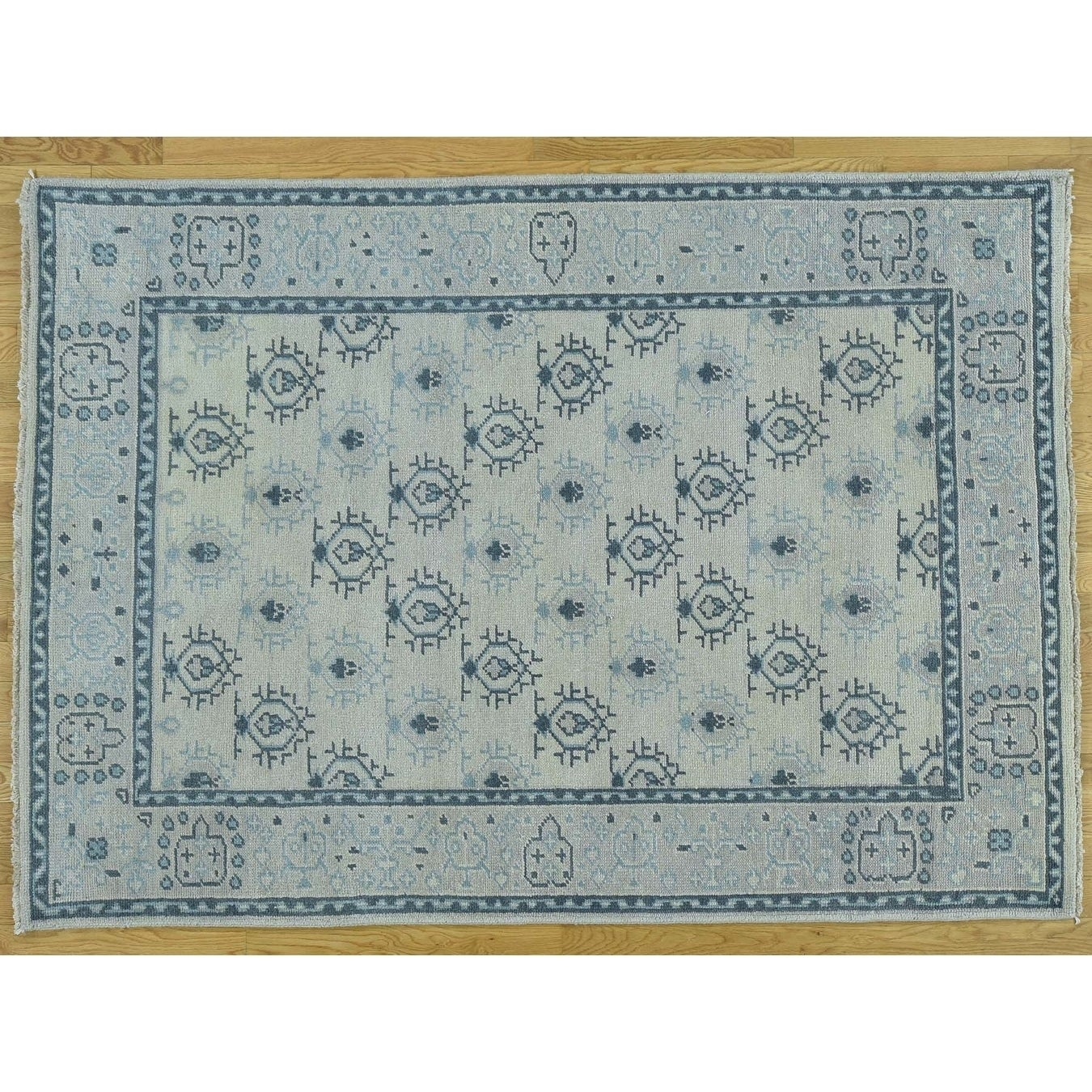 Hand Knotted Ivory Oushak And Peshawar with Wool Oriental Rug - 51 x 72