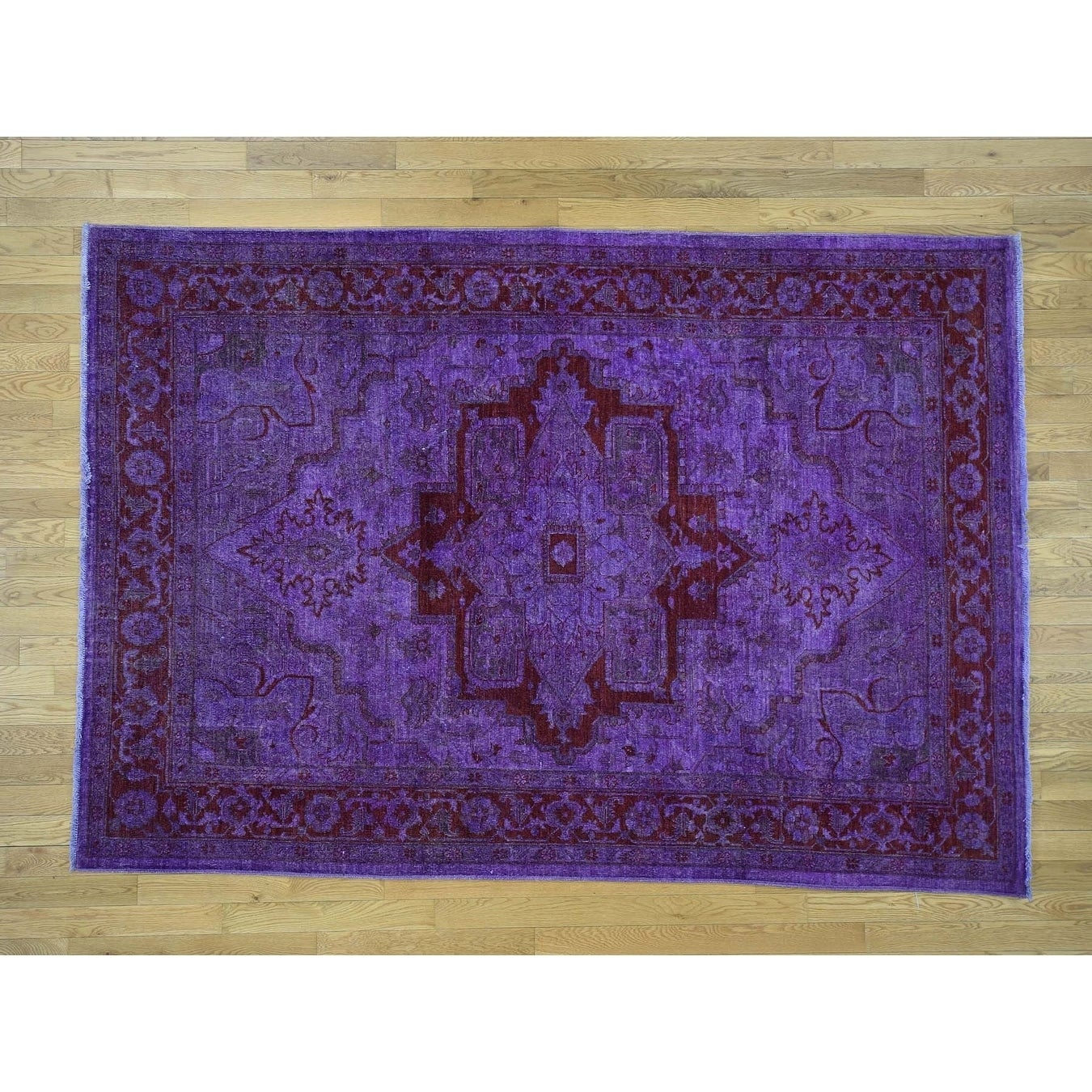 Hand Knotted Purple Overdyed & Vintage with Wool Oriental Rug - 62 x 89