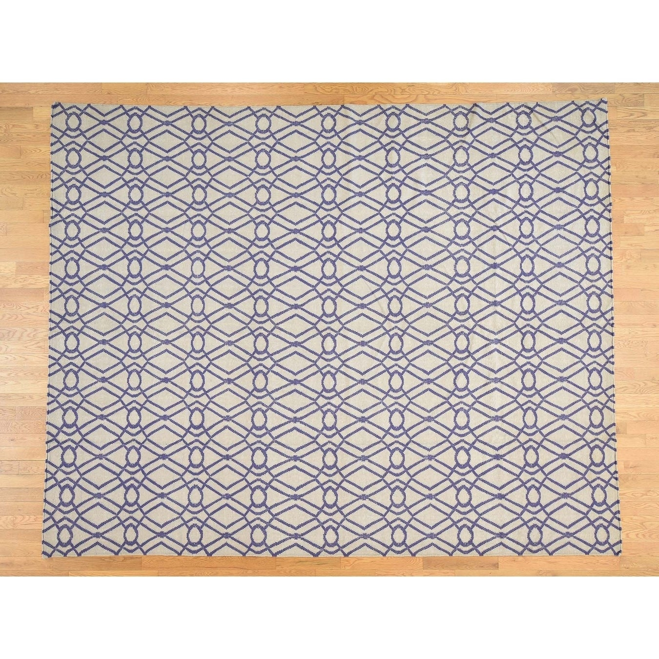 Hand Knotted Ivory Flat Weave with Wool Oriental Rug