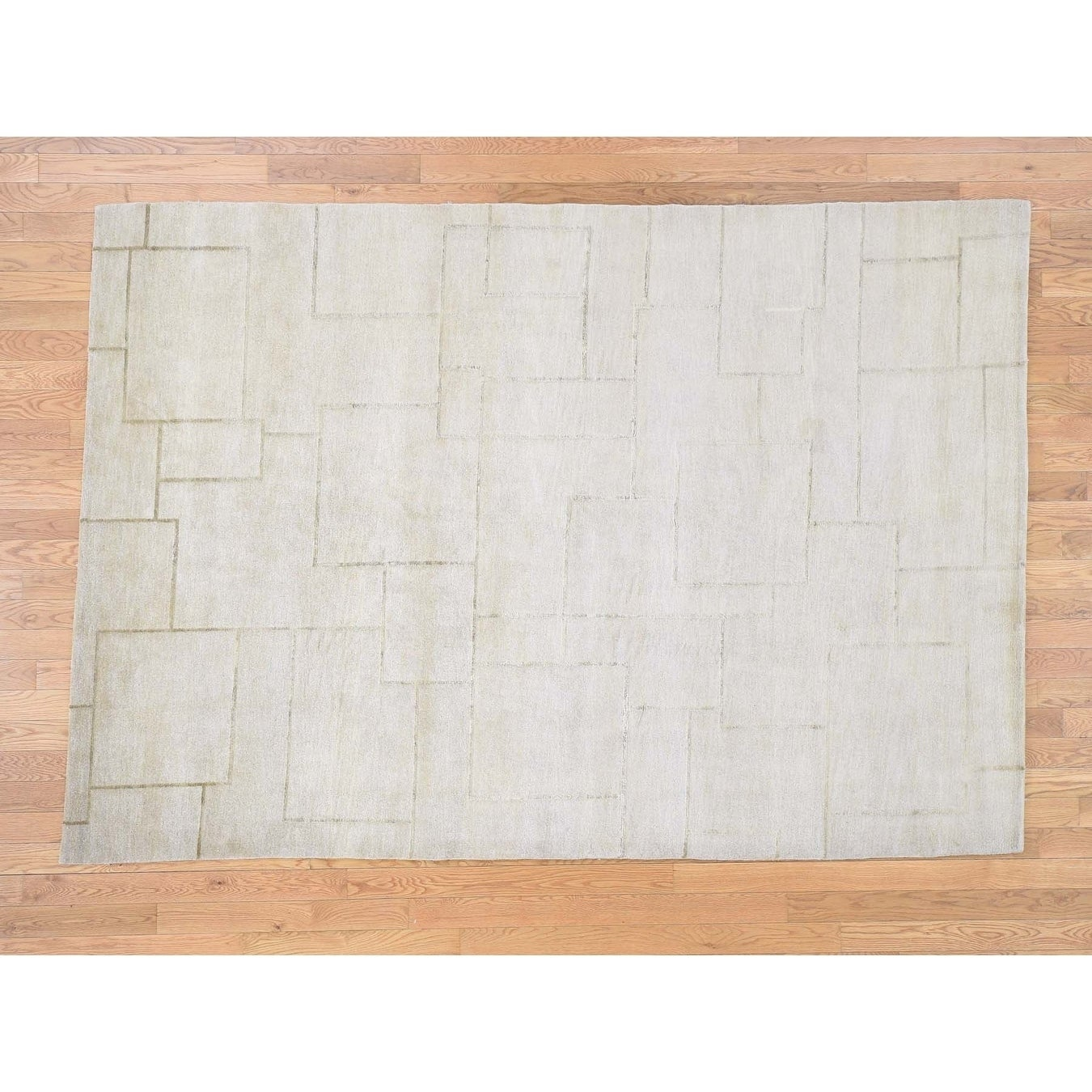 Hand Knotted Ivory Clearance with Wool & Silk Oriental Rug - 6 x 88