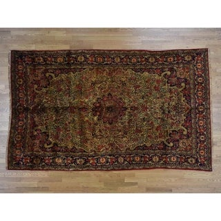 Hand Knotted Yellow Persian with Wool Oriental Rug - 7'1 x 12'