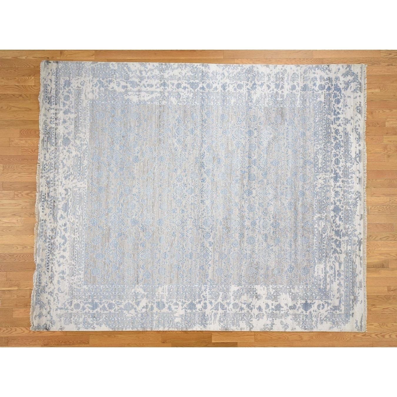 Hand Knotted Grey Modern & Contemporary with Wool & Silk Oriental Rug - 83 x 10