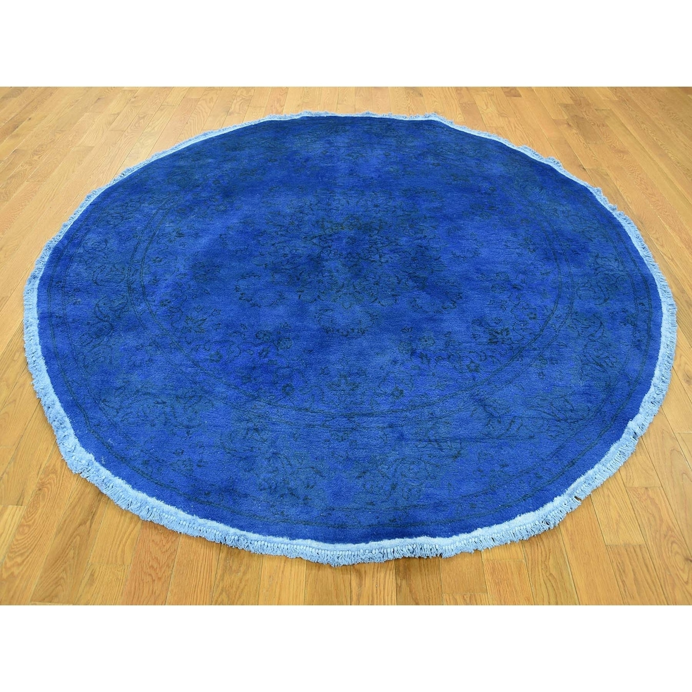 Hand Knotted Blue Overdyed & Vintage with Wool Oriental Rug - 61 x 61