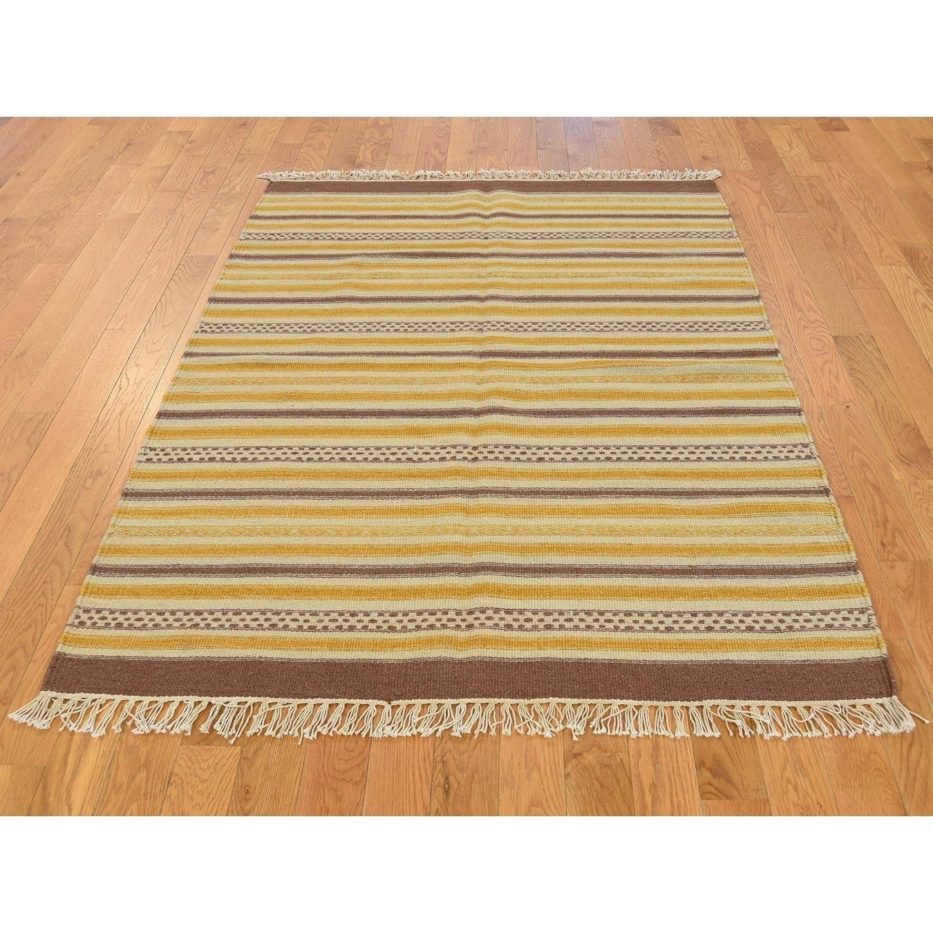 Hand Knotted Multicolored Flat Weave with Wool Oriental Rug - 210 x 5