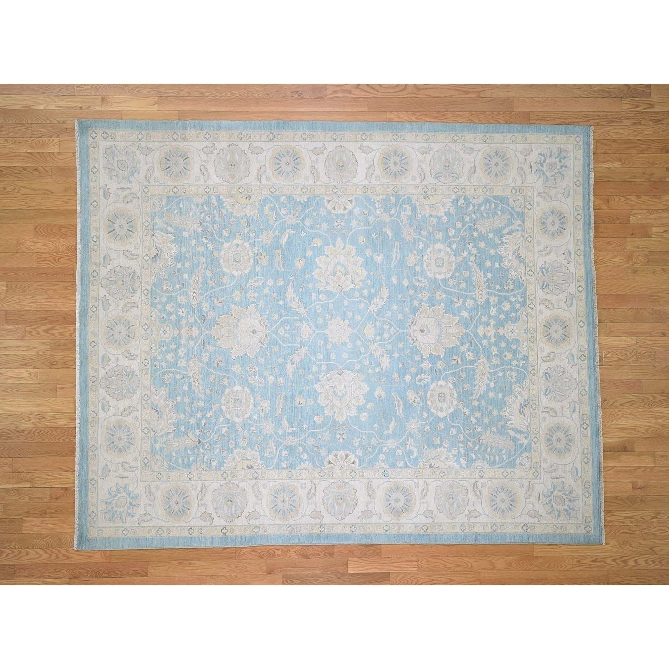 Hand Knotted Blue Oushak And Peshawar with Wool Oriental Rug - 8 x 99