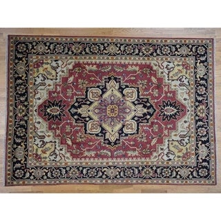 Hand Knotted Red Heriz with Wool Oriental Rug - 8'10 x 12'4