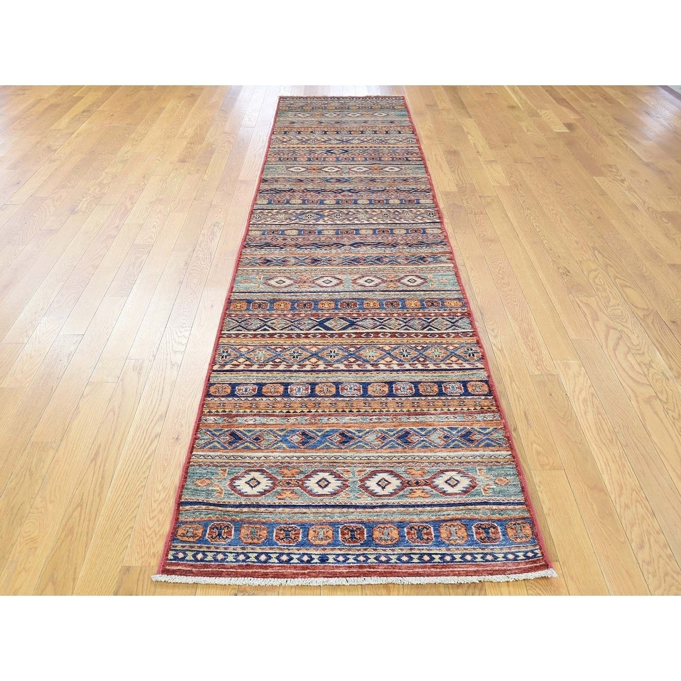 Hand Knotted Multicolored Kazak with Wool Oriental Rug