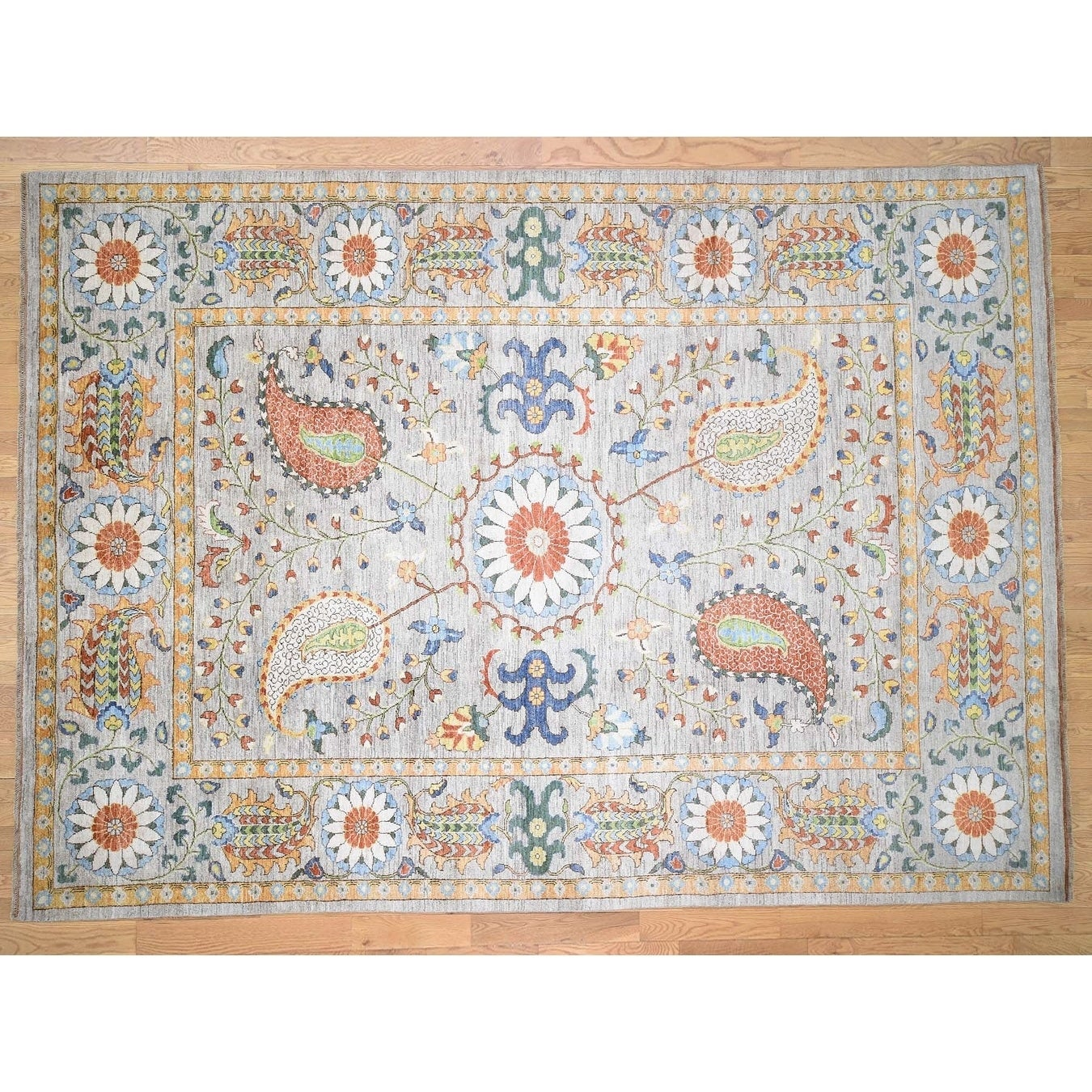 Hand Knotted Grey Oushak And Peshawar with Wool Oriental Rug - 9 x 124