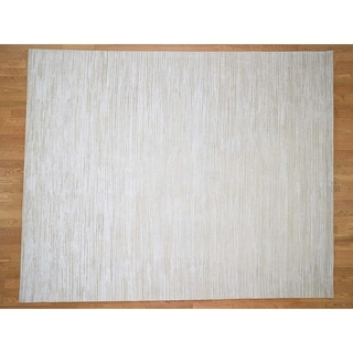Hand Knotted Ivory Modern & Contemporary with Wool & Silk Oriental Rug - 8'1 x 10'
