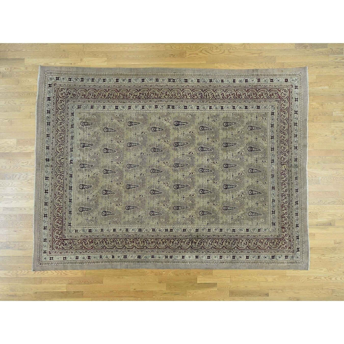 Hand Knotted Beige Antique with Wool Oriental Rug - 8 x 108