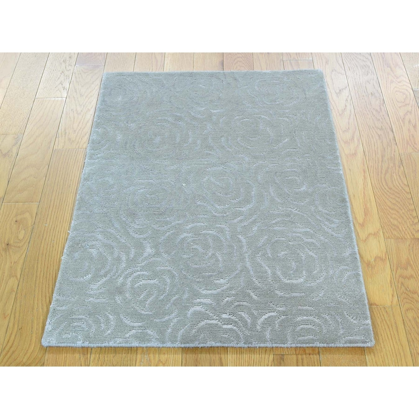 Hand Knotted Grey Wool and Silk with Wool & Silk Oriental Rug - 2 x 210
