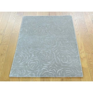 Hand Knotted Grey Wool and Silk with Wool & Silk Oriental Rug - 2' x 2'10