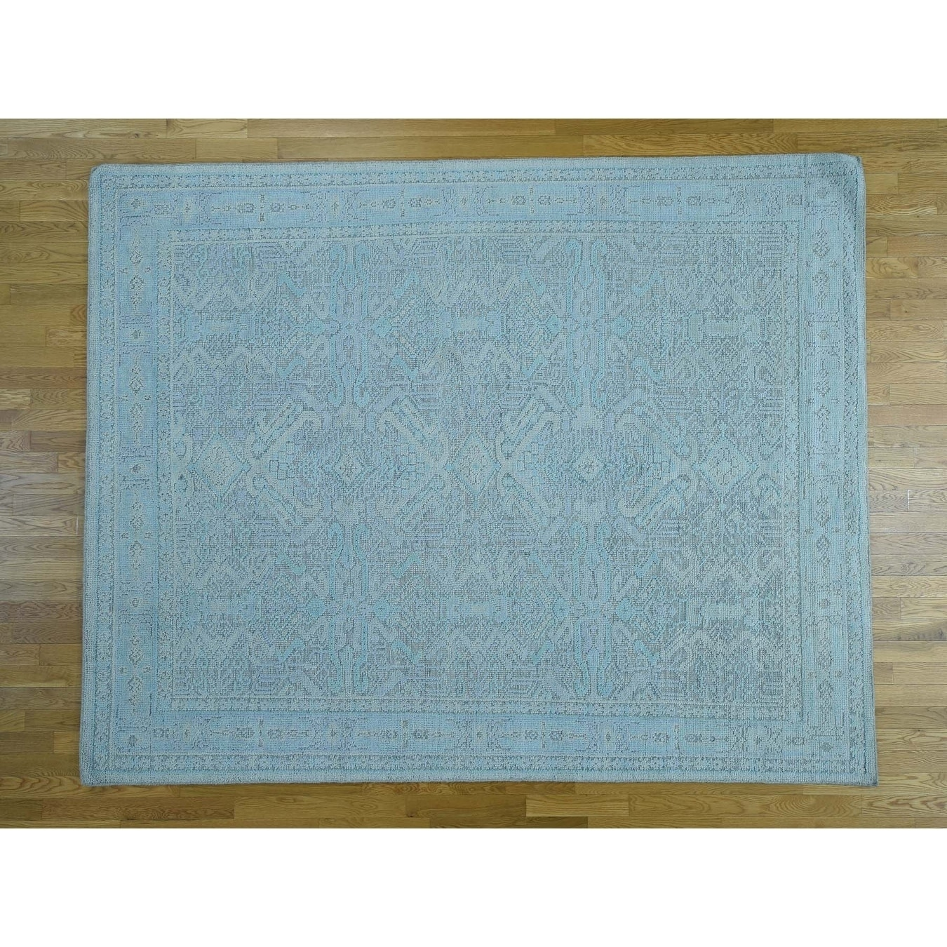 Hand Knotted Green Oushak And Peshawar with Wool Oriental Rug - 8 x 10