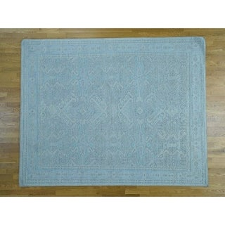 Hand Knotted Green Oushak And Peshawar with Wool Oriental Rug - 8' x 10'