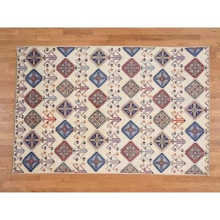 Hand Knotted Ivory Kazak with Wool Oriental Rug - 6' x 9'