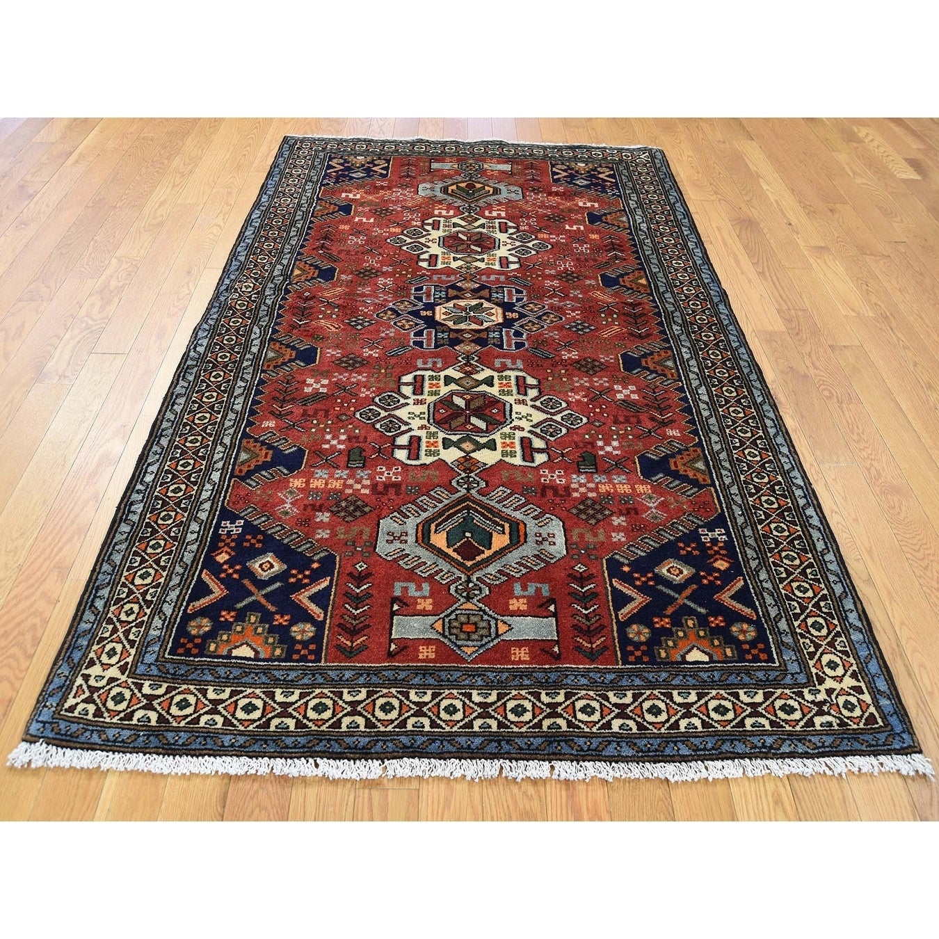 Hand Knotted Red Persian with Wool Oriental Rug - 41 x 64