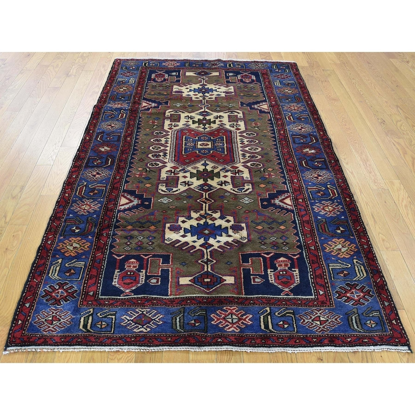 Hand Knotted Brown Persian with Wool Oriental Rug - 43 x 7