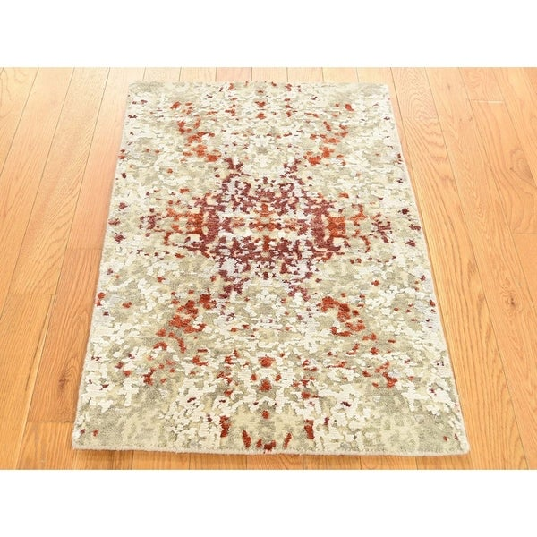 Wool Silk Rugs Contemporary: Shop Hand Knotted Beige Modern & Contemporary With Wool