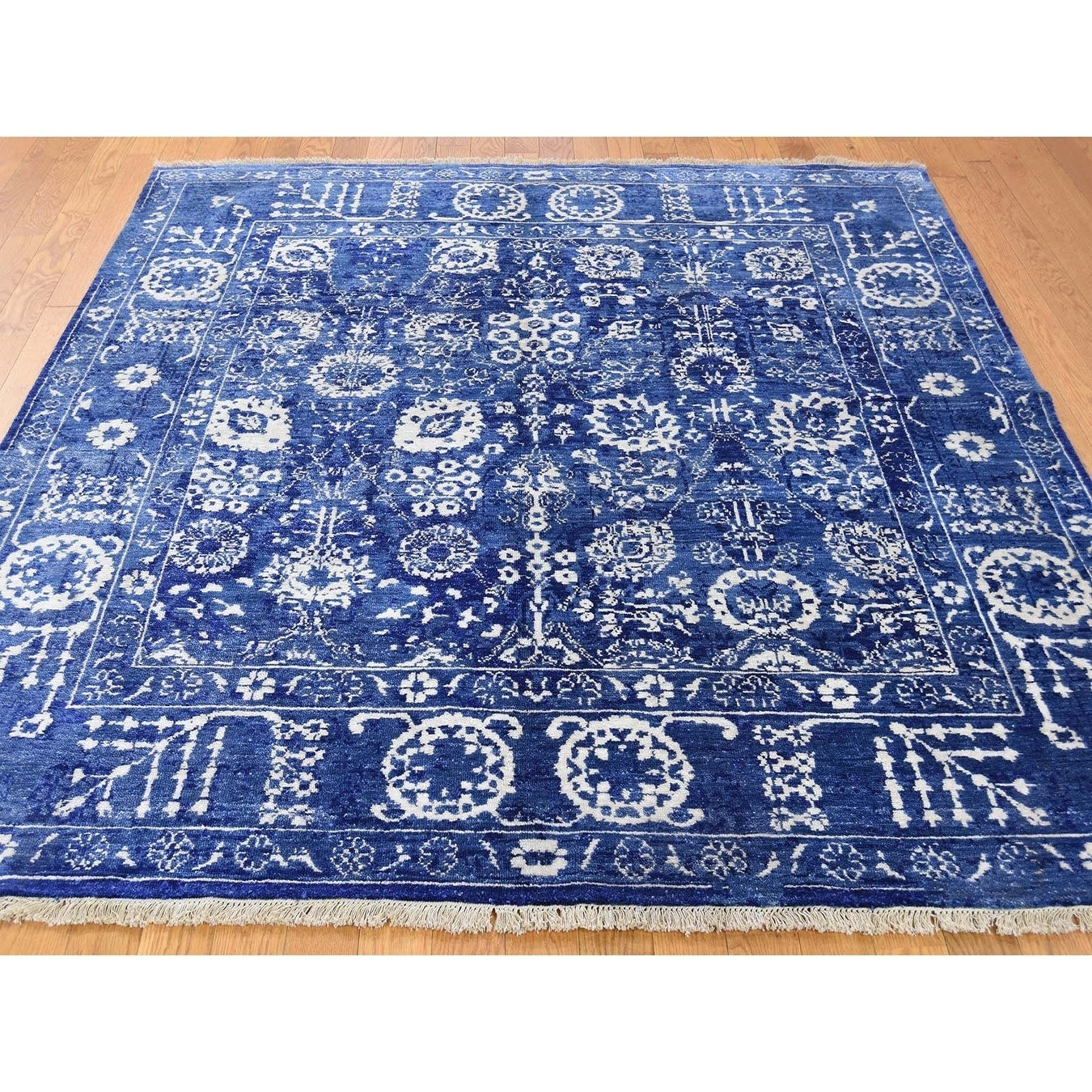 Hand Knotted Blue Modern & Contemporary with Wool & Silk Oriental Rug - 6 x 6