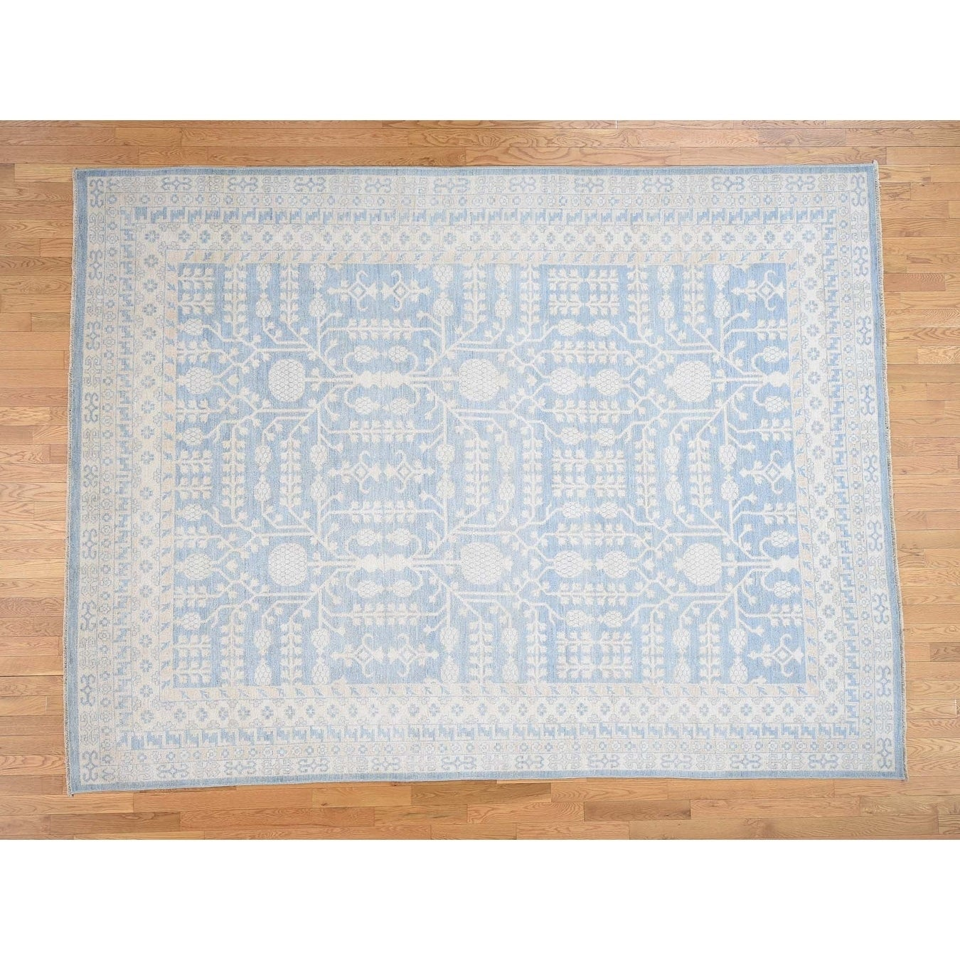 Hand Knotted Blue Khotan and Samarkand with Wool Oriental Rug