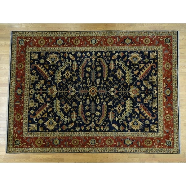 Shop Persian Oriental New Zealand Wool Area Rug: Shop Hand Knotted Blue Heriz With New Zealand Wool