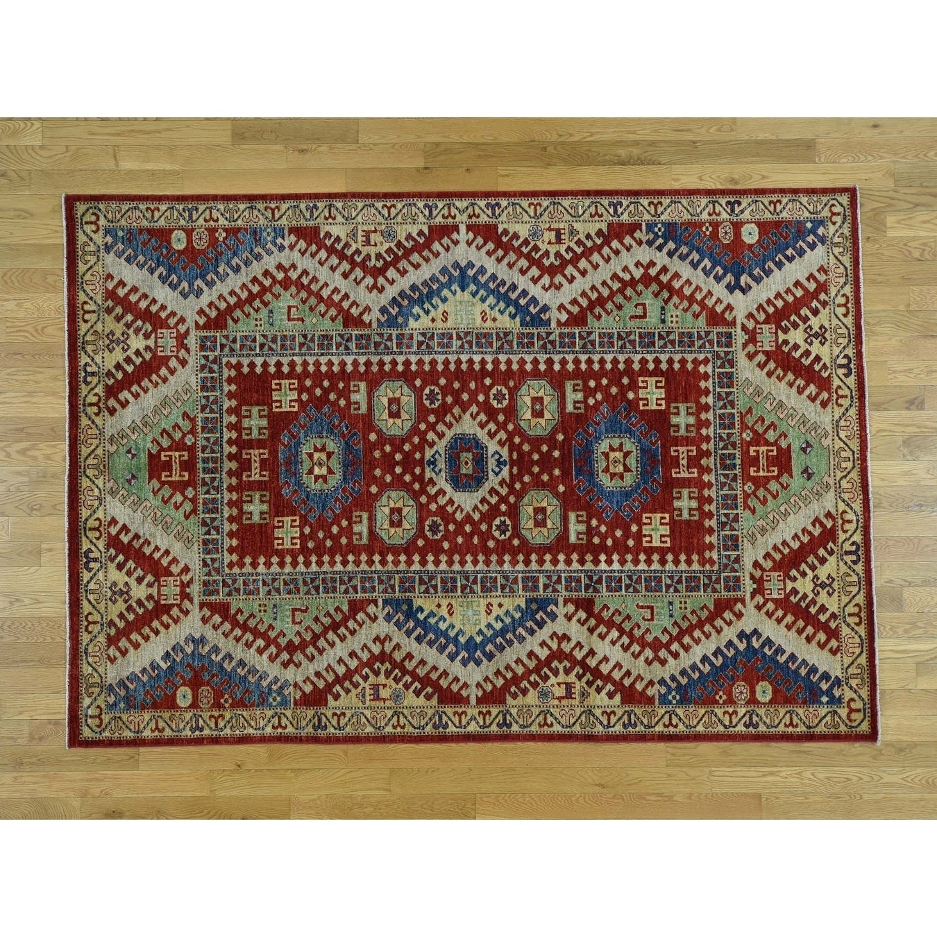 Hand Knotted Red Kazak with Wool Oriental Rug - 6 x 89