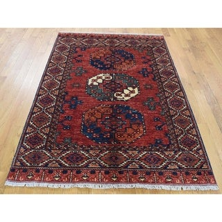 Hand Knotted Red Tribal & Geometric with Wool Oriental Rug - 4'1 x 5'9
