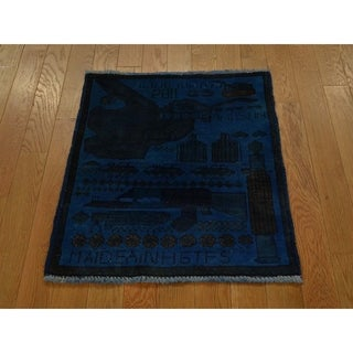 Hand Knotted Blue Overdyed & Vintage with Wool Oriental Rug - 2' x 2'5