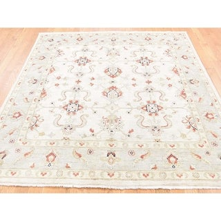 Hand Knotted Ivory Oushak And Peshawar with Wool Oriental Rug - 6' x 6'