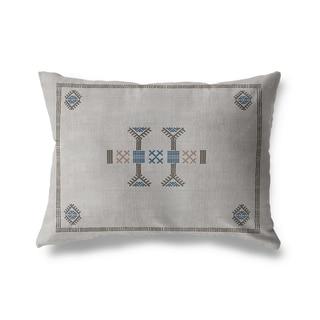 Morroccan Kilim Grey Lumbar Pillow By Becky Bailey