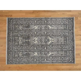 Hand Knotted Grey Oushak And Peshawar with Wool Oriental Rug - 5'2 x 7'5