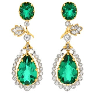 Michael Valitutti Palladium Silver Green Quartz Doublet & White Zircon Dangle Earrings