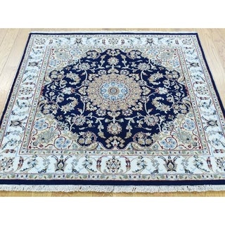 Hand Knotted Blue Fine Oriental with Wool & Silk Oriental Rug - 3'8 x 3'10