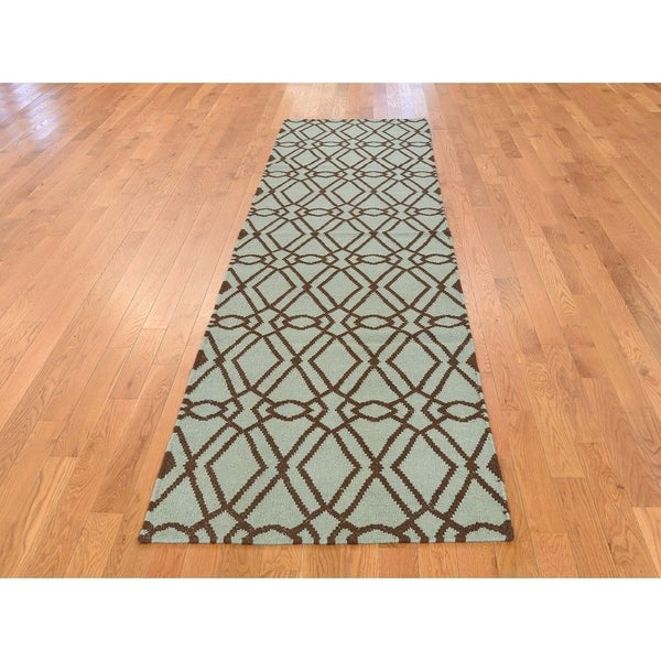 Green Flat Weave Rug: Shop Hand Knotted Green Flat Weave With Wool Oriental Rug