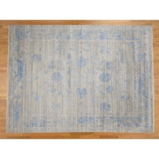 Hand Knotted Grey Modern & Contemporary with Wool & Silk Oriental Rug - 9'1 x 12'2