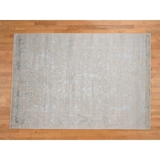 Hand Knotted Grey Modern & Contemporary with Wool & Silk Oriental Rug - 6'2 x 8'10