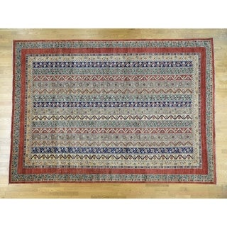 Hand Knotted Multicolored Kazak with Wool Oriental Rug - 10' x 13'9