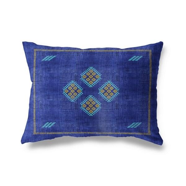 Kilim Bright Indigo Lumbar Pillow By Kavka Designs