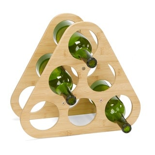 Mind Reader Environment-Friendly Bamboo and Stainless Steel Pyramid Wine Rack, Holds up to 6 Bottles, Silver