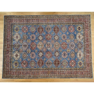 Hand Knotted Blue Kazak with Wool Oriental Rug - 10'1 x 14'2