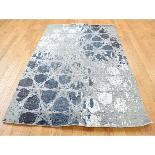 Modern Silk Rug: Shop Hand Knotted Green Modern & Contemporary With Wool
