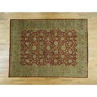 Hand Knotted Red Clearance with Wool Oriental Rug - 9' x 12'