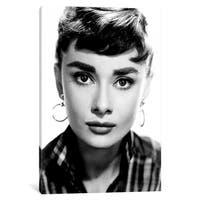 """iCanvas """"Audrey Hepburn Wearing Hoop Earrings"""" by Globe Photos, Inc. Canvas Print"""